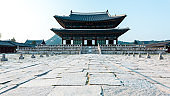Traditional korean architecture, Gyeongbokgung Palace, Seoul, South Korea.
