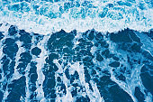 Texture nature background of ocean waves. Sea sunrise