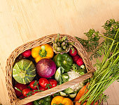 Basket of fresh vegetables with copy space
