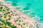 Aerial view of exotic tropical beach and sea