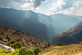 Asian mountain village with terrace fields in autumn, Annapurna Conservation Area, Himalaya, Nepal.