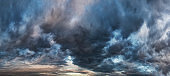 dark and heavy storm clouds sky panorama