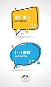 Set of two advertising speech banner templates