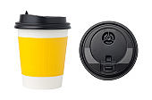 The top view of coffee cup and paper coffee cup