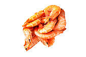 shrimp cooked seafood ready to eat prawn serving size snack. food background top view copy space healthy eating raw pescetarian