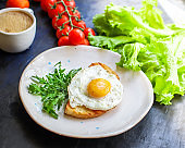 fried egg and toast bread salad delicious breakfast snack yolk and protein food background top view copy space eating healthy raw Takeaway