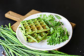 green waffles spinach, green beans, vegetables natural product portion serving size organic healthy eating top view place for text copy space second course