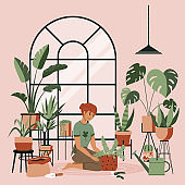 Plant lady green house. Set of cute plants in pots, cacti, tropical leaves, monstera. Urban jungle banner, greeting card print. Home interior decor elements. Houseplants growing, Young woman gardening
