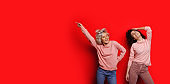 Two cheerful curly haired caucasian ladies pointing and posing on a red background with free space