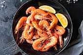 shrimp cooked prawn seafood ready to eat serving on a plate healthy meal snack ingredient top view copy space for text food background rustic diet pescetarian