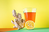 tea with lemon and ginger hot beverage drink ready to eat on the table healthy meal snack ingredient top view copy space for text food background rustic