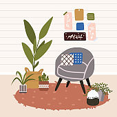 Scandinavian hygge style interior. Comfy furniture and home decorations set. Cozy living room or apartments with armchair, plant, lamp, carpet, home elements. Flat vector illustration bundle