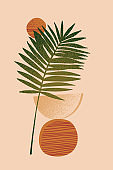 Abstract minimal background: tropical leaf silhouette, geometric shapes, grunge texture, copy space for text.