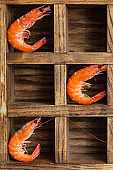 shrimp ready to eat boiled or fried seafood prawn without shell on the table serving top view  copy space for text keto or paleo diet pescetarian food background rustic