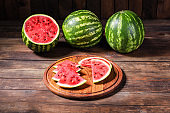 watermelon slices pieces red ripe berry juicy sweet dessert fruit food background top view copy space for text organic eating healthy keto or paleo diet