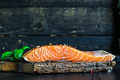 salmon piece of red fish spicy seafood Menu concept serving size. food background top view copy space for text organic healthy eating raw