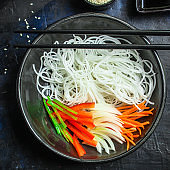 rice noodles pho glass noodle Asian vermicelli Menu concept serving size food background top view copy space healthy eating