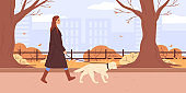 Woman wearing warm coat walks labrador retriever dog on leash. Pet walking service. Teenage girl spend time at autumn city park. Flat Vector illustration. Street style fashion person, outerwear.
