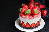 cheesecake strawberrie, sweet mascarpone dessert cake with berries Menu concept healthy eating serving. food background top view copy space for text