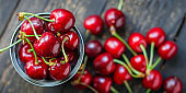 cherries red fresh juicy fruit berries sweet and healthy treat Menu serving size. food background top view copy space organic healthy eating