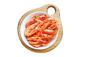 shrimp cooked seafood ready to eat prawn serving size. food background top view copy space healthy eating raw pescetarian