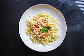 pasta shrimp spaghetti creamy prawn seafood sauce main dish second course food background top view copy space for text organic healthy eating