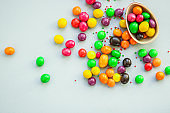 chocolate egg and candy easter decor, menu concept background. top view. copy space
