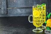 lemonade lemon mint ice drink Menu concept healthy eating. food background top view copy space
