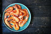 shrimp prawn ready to eat boiled seafood Menu concept serving size. food background top view copy space for text keto or paleo pescatarian diet