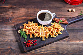 waffles dessert sweet Menu christmas new year baking serving size. food background top view copy space for text
