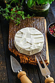 cheese Camembert or Brie Menu concept. food background top view copy space for text keto or paleo diet healthy eating, raw