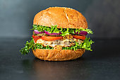 burger delicious grilled cutlet sandwich and vegetables serving size organic healthy ething natural product portion top view place for text copy space