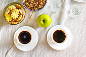 coffee and breakfast on the table outdoor tea party, coffee break outdoor food background top view copy space for text organic healthy eating