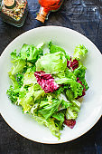 Healthy salad, leaves mix salad (mix micro greens, vegetable snack). food background, copy space for text keto or paleo diet