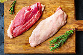 duck breast raw fillet meat, grilled meat. Menu food background keto or paleo diet. top view. copy space