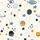 Cartoon space themed background: cute planets, moon, stars, galaxy, milky way with grunge, doodle textures.