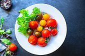 tomato salad multicolored eat healthy organic ingredient cook a snack meal on the table tasty serving size portion top view copy space for text food background rustic keto or paleo diet