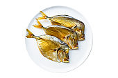 fish smoked vomer seafood sea snack meal on the table tasty top view copy space for text food background rustic pescetarian diet
