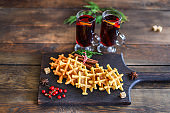 waffles sweet dessert christmas new year baking Menu serving size. food background top view copy space for text