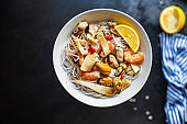 rice noodles seafood cellophane pasta shrimp, mussels, squid ingredient for preparing healthy meal snack top view copy space for text food background rustic