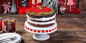 chocolate cake cranberry red berries merry christmas new year dessert baking food background top view copy space for text