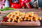 waffles sweet dessert christmas new year baking Menu serving size. food background top view copy space for text healthy eating