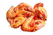 shrimps cooked seafood ready to eat prawn natural product ingredient serving size snack. food background top view copy space healthy eating raw pescetarian