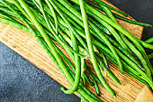 green beans raw legumes helthy eating natural product portion serving size, top viewt copy space  for tex keto or paleo diet