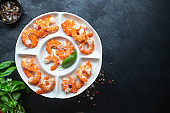 shrimp ready to eat prawn boiled or fried seafood without shell on the table top view  copy space for text diet pescetarian food background rustic