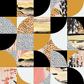 Modern seamless geometric pattern: semicircle, circle, square with watercolor, ink, grunge textures