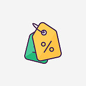 Shopping tags icon. Sign Special offer. Discount coupons symbol in flat style colorful. Vector illustration eps 10