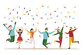 Happy people at a Christmas and New Year's corporate party. Positive men and women dancing and having fun. Set of modern vector characters.