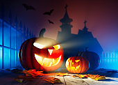 Jack O' Lanterns In Spooky Scene With Ghost Lights