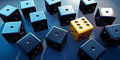 One gambling golden dice for games